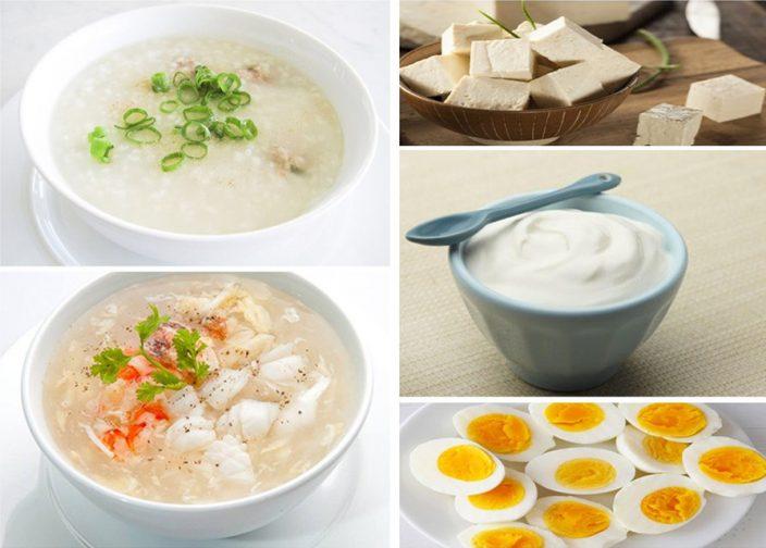 Ưu tiên cho những thực phẩm như cơm, cháo, suop, sữa chua trắng, trứng, đậu phụ, bánh gạo...