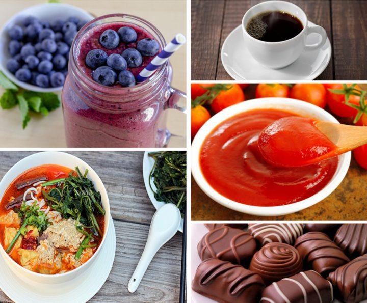 Những thực phẩm sậm màu như cà phê, các loại nước ép, sôcola, nước sốt cà chua,... bạn không nên đụng đến
