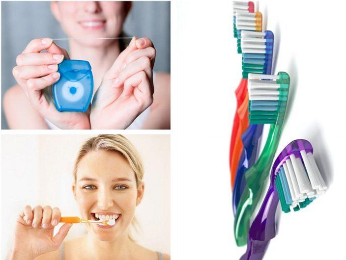 Giữ thói quen đánh răng ít nhất 2 lần/ ngày, sử dụng chỉ nha khoa và nước súc miệng